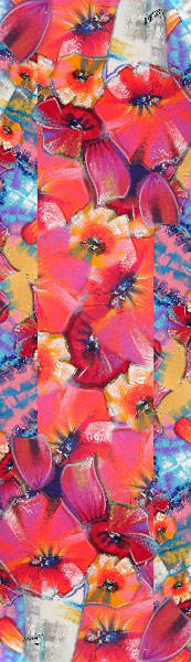 """Bouquet de tulipes"" Silk art scarf"