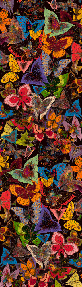 "Silk art scarf ""Papillon"""