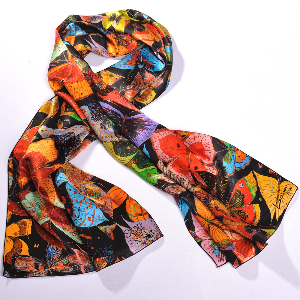 echarpe foulard d 39 art en soie papillon de jean fran ois larrieu foulard en soie original. Black Bedroom Furniture Sets. Home Design Ideas